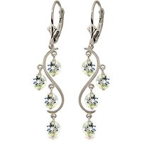 Aquamarine Dream Catcher Drop Earrings 4.5 ctw in 9ct White Gold - White Gold Gifts