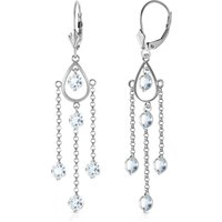 Aquamarine Faro Drop Earrings 3 ctw in 9ct White Gold - White Gold Gifts