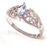 Aquamarine Filigree Ring 0.2 ct in 9ct White Gold