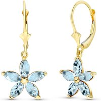 Aquamarine Flower Star Drop Earrings 2.8 ctw in 9ct Gold - Flower Gifts
