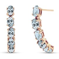 Aquamarine Linear Stud Earrings 2.5 ctw in 9ct Rose Gold