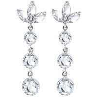 Aquamarine Petal Drop Earrings 8.7 ctw in 9ct White Gold - White Gold Gifts
