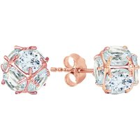 Aquamarine Infinity Stone Earrings 5.7 ctw in 9ct Rose Gold - Aquamarine Gifts