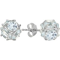 Aquamarine Infinity Stone Earrings 5.7 ctw in 9ct White Gold - Aquamarine Gifts