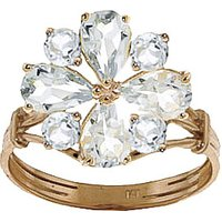 Aquamarine Sunflower Cluster Ring 2.43 ctw in 9ct Gold - Fashion Gifts