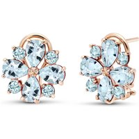 Aquamarine Sunflower Stud Earrings 4.85 ctw in 9ct Rose Gold