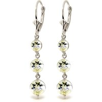 Aquamarine Trinity Drop Earrings 7.2 ctw in 9ct White Gold - White Gold Gifts