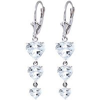 Aquamarine Triple Heart Drop Earrings 6 ctw in 9ct White Gold - White Gold Gifts