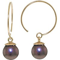 Black Pearl Eclipse Circle Wire Earrings 4 ctw in 9ct Gold - Black Gifts