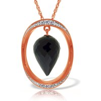 Black Spinel & Diamond Drop Pendant Necklace in 9ct Rose Gold - Qp Jewellers Gifts
