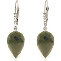 Black Spinel Drop Earrings 24.65 ctw in 9ct White Gold