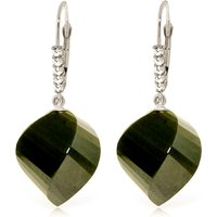Black Spinel Drop Earrings 31.15 ctw in 9ct White Gold