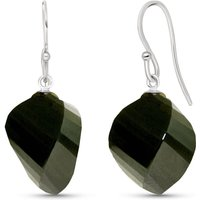 Image of Black Spinel Spiral Briolette Drop Earrings 31 ctw in 9ct White Gold