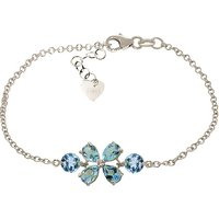 Blue Topaz Adjustable Bracelet 3.15 ctw in 9ct White Gold