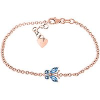 Blue Topaz Adjustable Butterfly Bracelet 0.6 ctw in 9ct Rose Gold