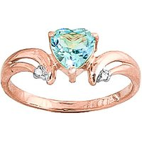 Blue Topaz and Diamond Affection Heart Ring in 9ct Rose Gold