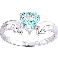 Blue Topaz and Diamond Affection Heart Ring in 9ct White Gold