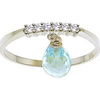 Blue Topaz & Diamond Band in 9ct White Gold - Band Gifts
