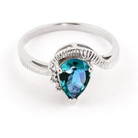 Blue Topaz and Diamond Belle Ring in 9ct White Gold