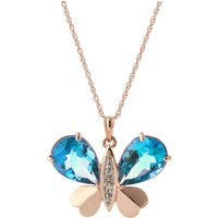 Blue Topaz & Diamond Butterfly Pendant Necklace in 9ct Rose Gold - Fashion Gifts