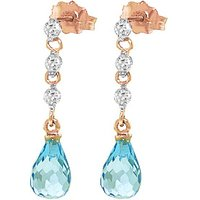 Blue Topaz and Diamond Chain Droplet Earrings in 9ct Rose Gold