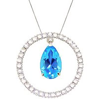 Blue Topaz & Diamond Circle of Life Pendant Necklace in 9ct White Gold - Life Gifts
