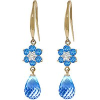 Blue Topaz and Diamond Daisy Chain Drop Earrings in 9ct Gold