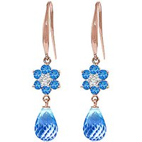 Blue Topaz and Diamond Daisy Chain Drop Earrings in 9ct Rose Gold