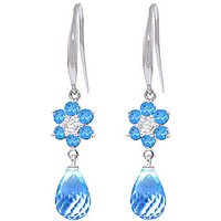 Blue Topaz and Diamond Daisy Chain Drop Earrings in 9ct White Gold