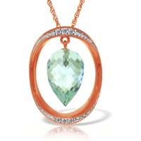 Image of Blue Topaz & Diamond Drop Pendant Necklace in 9ct Rose Gold