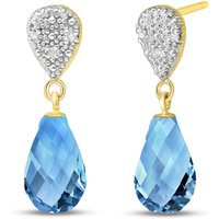 Blue Topaz & Diamond Droplet Earrings in 9ct Gold - Jewellery Gifts