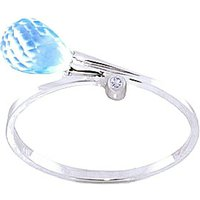 Blue Topaz and Diamond Droplet Ring in 9ct White Gold