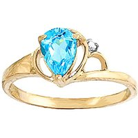 Image of Blue Topaz & Diamond Glow Ring in 9ct Gold