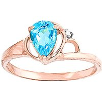 Image of Blue Topaz & Diamond Glow Ring in 18ct Rose Gold