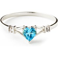 Blue Topaz and Diamond Heart Ring in 9ct White Gold