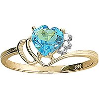 Blue Topaz and Diamond Passion Ring in 9ct Gold