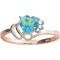 Blue Topaz and Diamond Passion Ring in 9ct Rose Gold