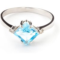 Blue Topaz and Diamond Princess Ring in 9ct White Gold