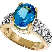 Blue Topaz and Diamond Renaissance Ring in 9ct Gold
