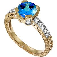 Blue Topaz & Diamond Renaissance Ring in 9ct Gold - Fantasy Gifts