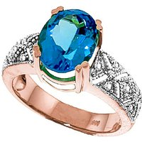 Blue Topaz and Diamond Renaissance Ring in 9ct Rose Gold