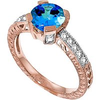 Blue Topaz & Diamond Renaissance Ring in 9ct Rose Gold - Fantasy Gifts