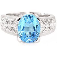 Blue Topaz and Diamond Renaissance Ring in 9ct White Gold