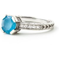 Blue Topaz & Diamond Renaissance Ring in 9ct White Gold - Fantasy Gifts