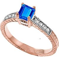 Blue Topaz and Diamond Shoulder Set Ring in 9ct Rose Gold