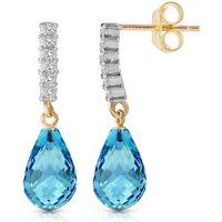 Blue Topaz & Diamond Stem Droplet Earrings in 9ct Gold - Jewellery Gifts