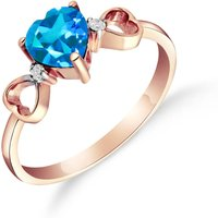 Blue Topaz and Diamond Trinity Ring in 18ct Rose Gold