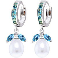 Blue Topaz and Pearl Dewdrop Huggie Earrings in 9ct White Gold