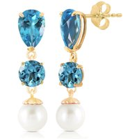 Blue Topaz & Pearl Droplet Earrings in 9ct Gold - Jewellery Gifts