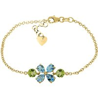 Blue Topaz and Peridot Adjustable Bracelet in 9ct Gold